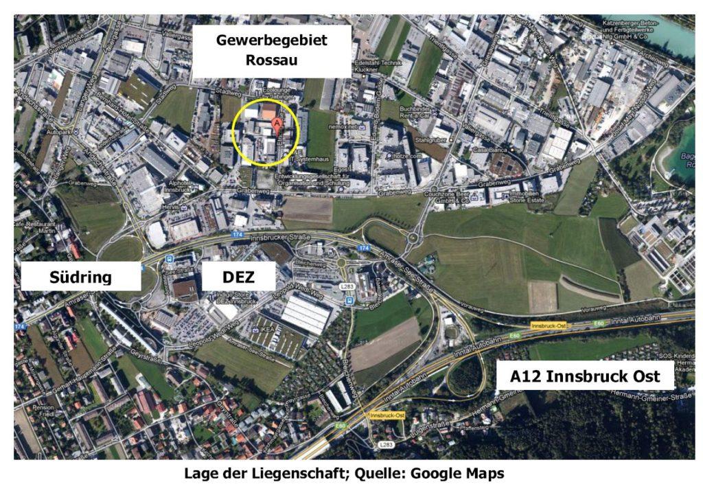 Lage ehemaliges WMF Gebäude Innsbruck zur Vermietung